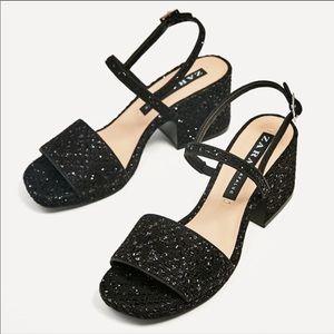 Zara Glitter Chunky Block  Heels